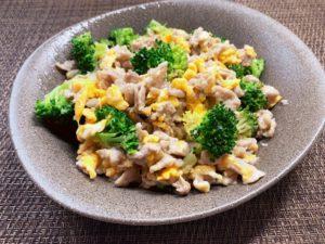 ブロッコリーと豚肉の鶏ガラ炒め